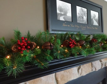 mantle garland mantel garland christmas garland staircase garland pine garland christmas decoration christmas mantle christmas swag - How To Decorate A Christmas Garland