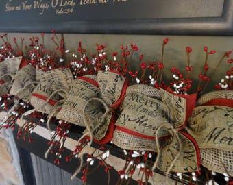 christmas garland christmas mantle berry and burlap garland christmas swag mantle decoration fireplace decor - Burlap Christmas Garland