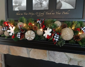 christmas garland christmas mantle decoration rustic christmas burlap garland woodsy country flannel and buffalo plaid