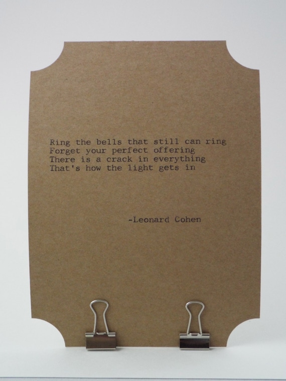 Inspirational Poetry Letterpress Typography Music Typed on Vintage Typewriter- CUSTOM QUOTE CARD-