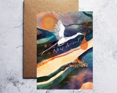 A6 New arrival heron  greeting card