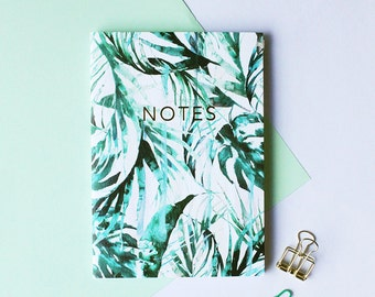 Paradise palms pocket notebook with gold foiling