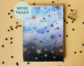 Thicker pages A5 cloudy stars with gold foil stars