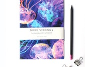 Translucent mystical blue Jellyfish  A5 Notebook with lined pages