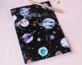 Personalised Gold foil Name initials A5 marble galaxy notebook