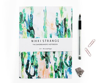 Painterly Cactus A5 Notebook with lined pages