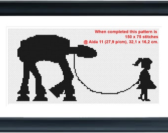 Girl walking her ATAT - (150 x75 stitches) Cross Stitch Pattern - Instant Download