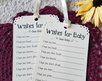 Set of 12 Baby Shower Wishing Tree Tags Advice Tags - Wishes for Baby your choice of Cream Ivory or White card stock / wish tags