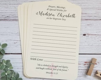 Set of 12 Baby Baptism Wish Cards - Baby dedication cards - Baby Christening Cards - Prayers for Baby GIRL - HANDMADE - Blessing Ring Cards