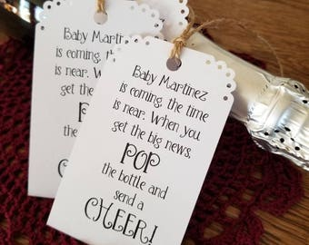 Set of 12 Champagne Favor Tags / Baby Shower Favors / Mini Champagne Bottle Tags / Pop it and give a Cheer / Your choice of card stock