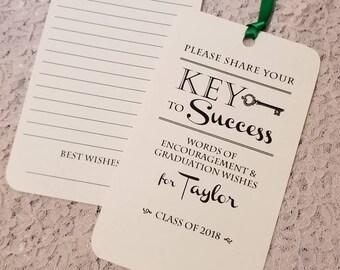 Set of 12 Graduation Wish Tags - Graduation Advice Tags - Key to Success - Personalized & Double Sided - Graduation Wishing Tree Tags