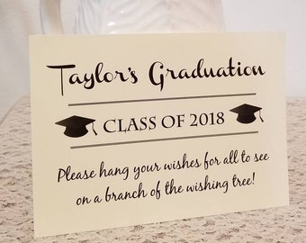 Sign for Graduation Party Wishing tree tags / 5x7 Sign / Instruction Card / Graduation Wishing Tree Sign