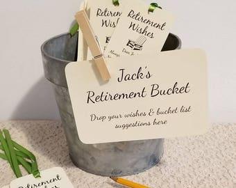 Retirement Bucket Sign for Retirement Party / For Retirement Wish Tags / 4x6 Sign / Retirement Bucket List / Retirement Instruction Card