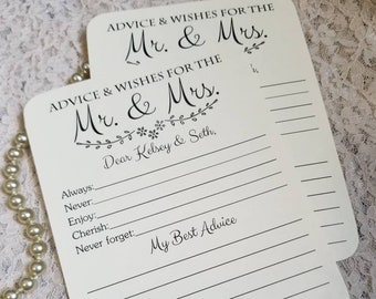 Set of 12 Personalized bridal shower advice and wish cards / wedding advice cards / wedding wish cards / wishes for the mr and mrs