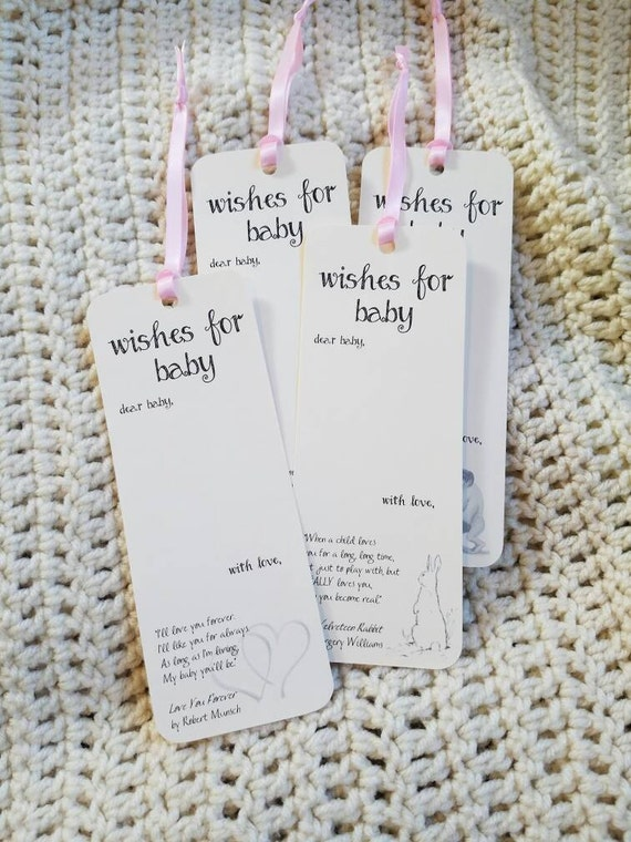 Set Of 8 Baby Shower Wishing Tree Tags Bookmarks With Children Etsy