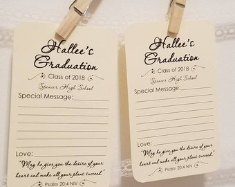 Set of 12 Graduation Wishes Advice Cards Tags for Graduation Party with Religious Bible Psalm 20:4 Quote
