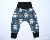 Sugar Skulls Star Wars Harem Pants (Made to Order - Sizes 0 mo to 3T) Kids Star Wars Costme Infant Stoomtrooper pants Darth Vader Pants
