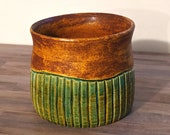 Rust and Turquoise Striped Ceramic Planter - Low Fire Ceramic Vessel, Thrown Planter, Ceramic Cup, Hand Carved Planter