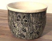 Black and White Floral Sgraffito Ceramic Planter - Low Fire Ceramic Vessel, Thrown Planter, Ceramic Cup, Hand Carved Planter