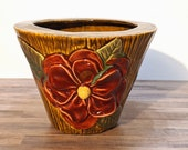 Slip Cast Ceramic Flower Pot - Mid Fire Ceramic Planter, Decorated Flower Vase