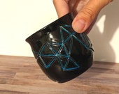 Black and Blue Geometric Ceramic Planter - Low Fire Ceramic Vessel, Thrown Planter, Ceramic Cup, Hand Carved Planter