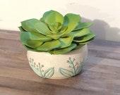 Small Lavender Flowers Slip Trail Ceramic Planter - Low Fire Ceramic Vessel, Small Planter, Flower Vase, Air Plant Vase, Succulent Planter