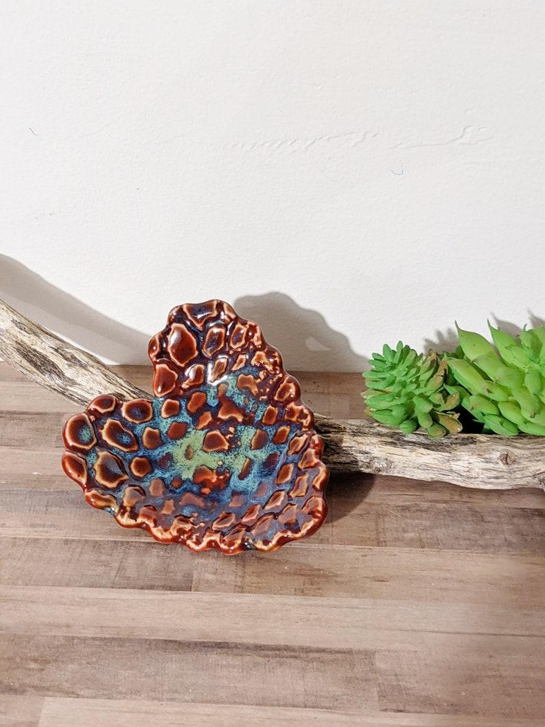 Ring Dish Small Textured Heart Dish Cache Dish Jewelry Dish Mid Fire Handmade Ceramic Dish Trinket Dish #3