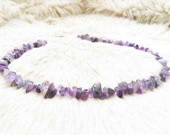 Amethyst gemstone beaded necklace.  Healing jewellery. February birthday necklace. Crystal necklace. Amethyst jewellery.