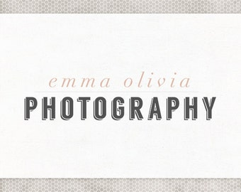 Premade Logo Design   Photography Logo   Blush and Gray   Pink and Black   Minimalist Design   Typography Logo   Etsy Shop Banner