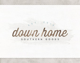 Premade Logo Design   Rustic Wood   Photography Logo   Minimalist Design   Watercolor Logo   Mint and Gray   Blue and Brown   Etsy Banner