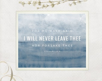 I Will Never Leave Thee, Hebrews Art, Scripture Printable, Bible Verse Print, Navy Watercolor, Blue and White, Minimalist Decor