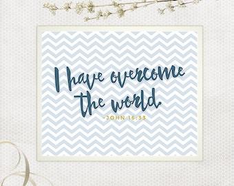 Scripture Printable, I Have Overcome The World, Navy and Mustard, Blue and Yellow, Blue Chevron, Wall Art, Nursery Decor, DIY Nursery Art