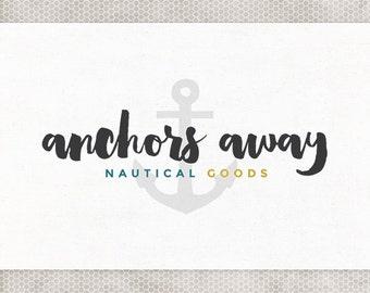 Premade Logo Design   Nautical Logo   Photography Logo   Minimalist Design   Anchor Logo   Navy and Gray   Mustard and Teal