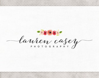 Premade Logo Design   Photography Logo   Watercolor Flowers   Black and White   Blush and Green   Hot Pink   Calligraphy Font