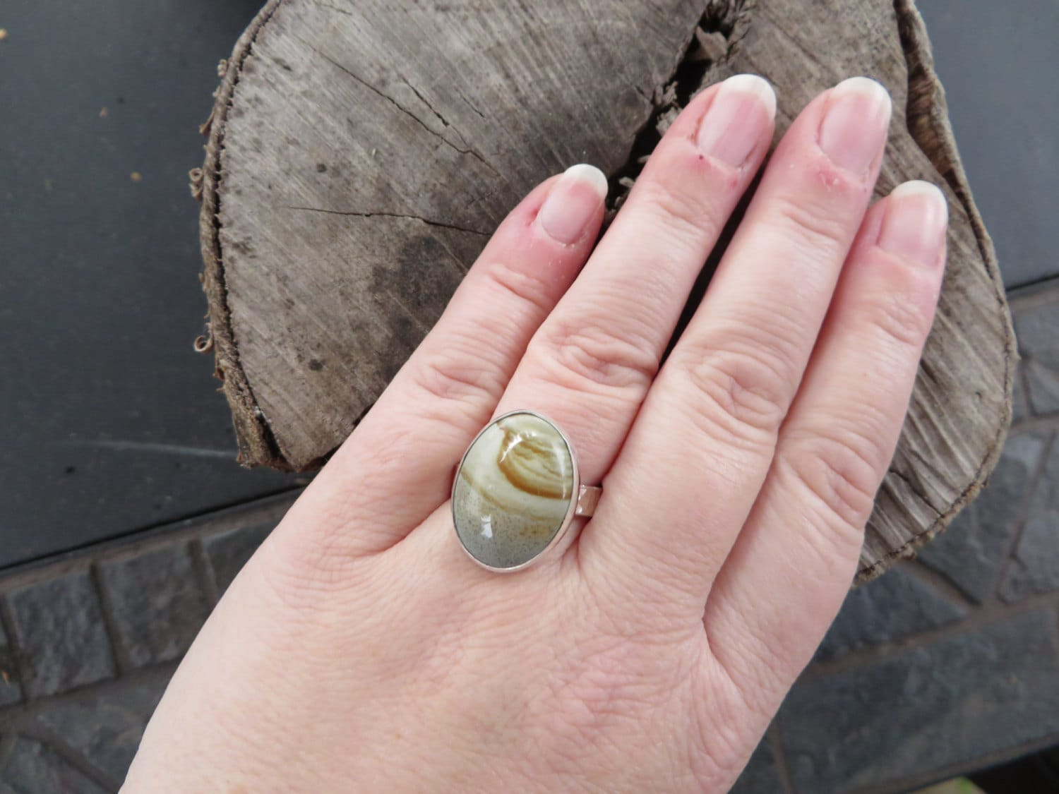 Boho jewelry, tribal, picture jasper ring, sterling silver ...