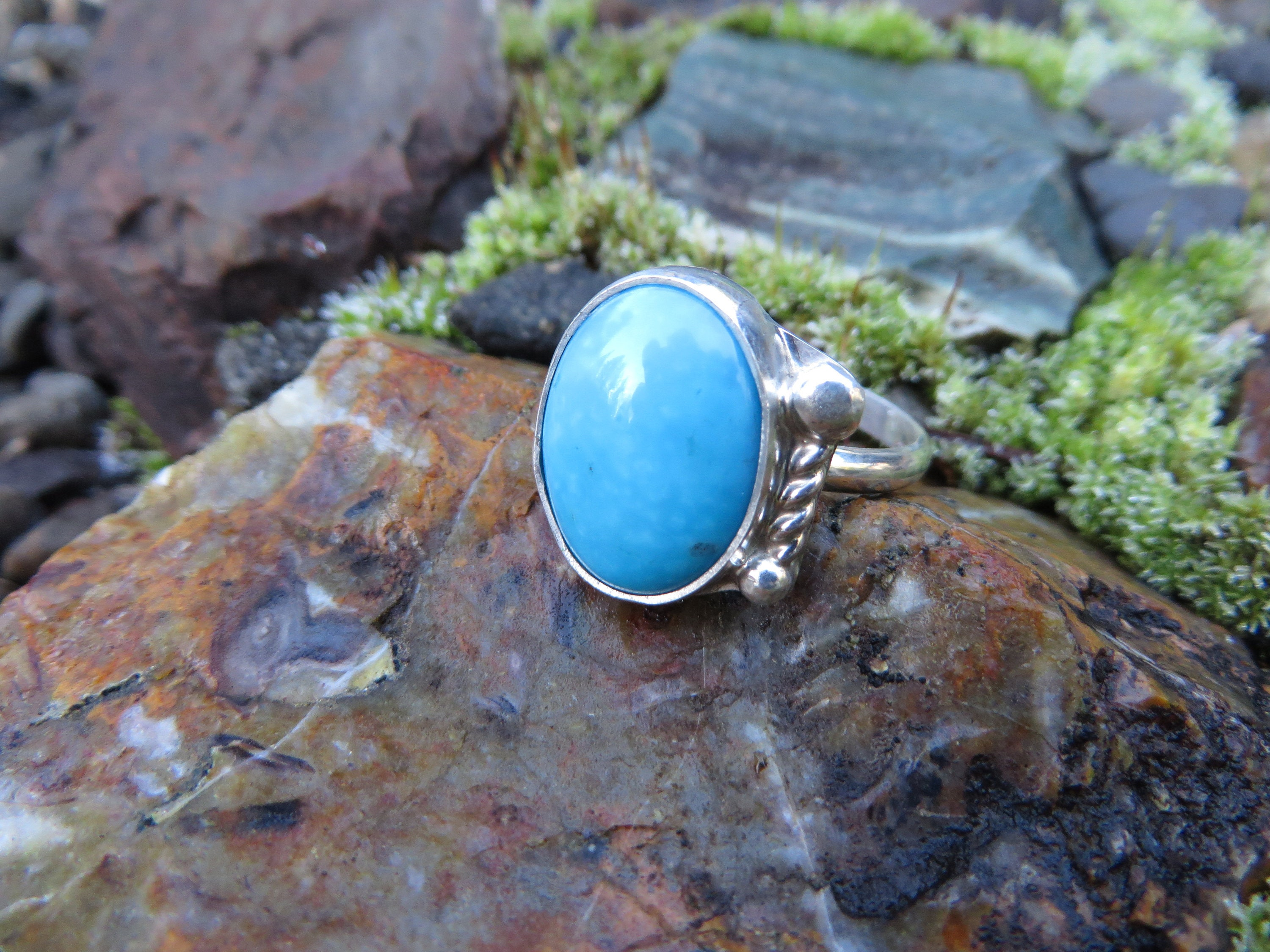 Turquoise Boho  Ring Rings -Gift for Turquoise bohemian Turquoise Sterling Silver Ring Hand Crafted Bohemian Ring-Bohemian Ring