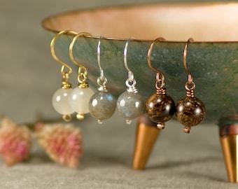 Bronzite and quartz dangle earrings,bronzite flower earrings for woman,bronzite jewellery,bown gemstone earrings boho jewelry,gifts for her