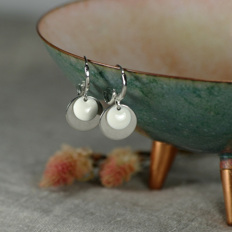 small stainless steel hoop earrings with round pendant Earrings Circles enamel white silver