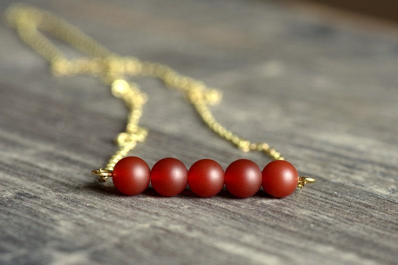 Delicate brass necklace with agate Matt Red Orange
