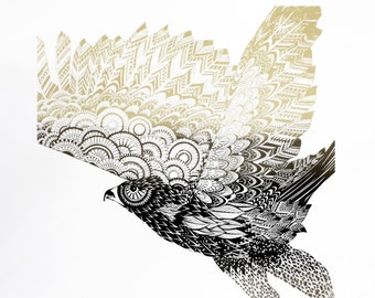 Limited edition eagle screen print - hand printed bird art - bird of prey print - gold and black art - screen printed art - 50 x 70 cm