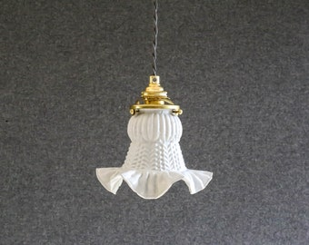 Antique french ceiling light in grey painted glass, french pendant lamp - old tulip model- art deco design