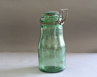 "vintage french green glass canning jar ""durfor"""