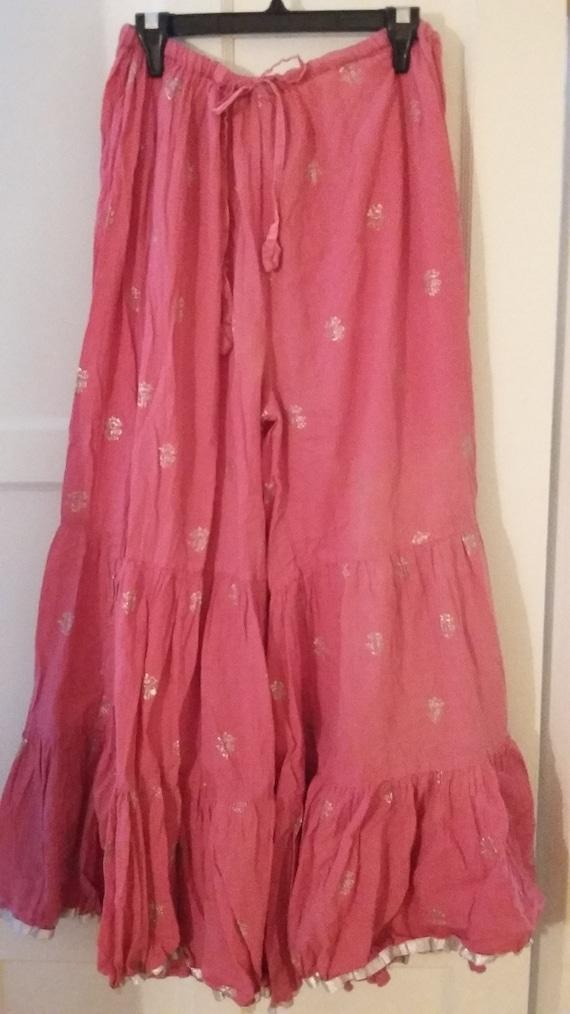 Vintage Hot Pink, Block Print Palazzo Pants