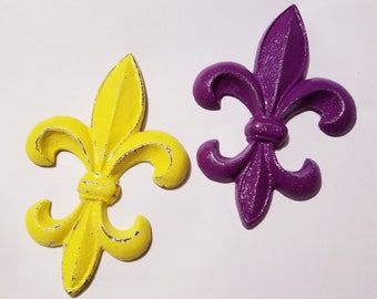 Fleur De Lis Wall Decor Yellow and Purple French Inspired Wall Plaque Hanging Houseware