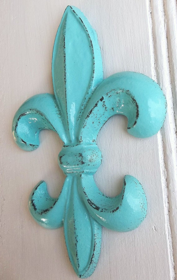 Fleur De Lis Wall Decor Turquoise Cast Iron French Inspired | Etsy