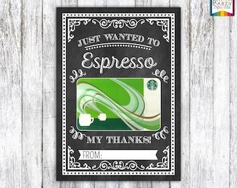 Starbucks gift card etsy instant download espresso my thanks starbucks coffee gift card teacher appreciation card holder chalkboard 5x7 jpg digital file colourmoves
