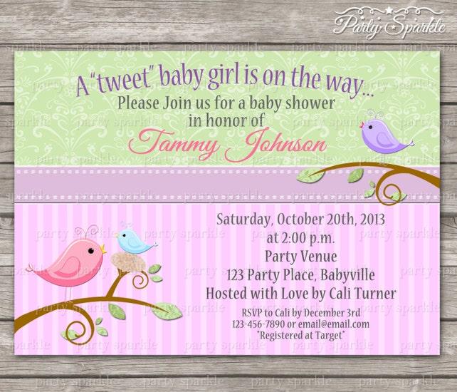 Printable Tweet Baby Girl Pink And Green Birdie Baby Shower Invite