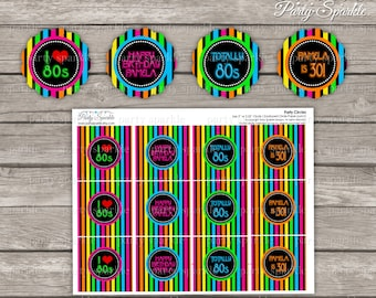 PRINTABLE Totally 80s Retro - Cupcake Toppers - Personalized Birthday Party Circles - Digital pdf file