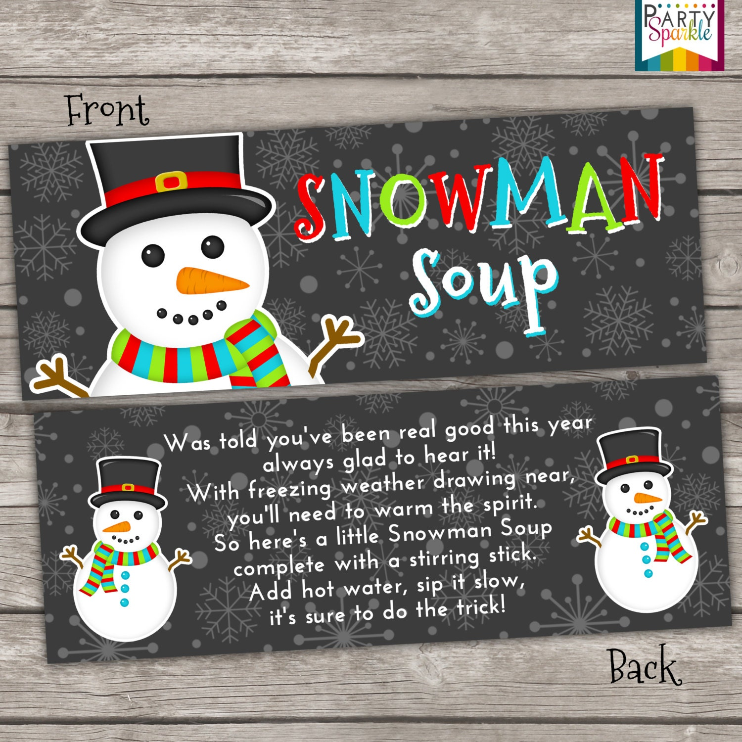 graphic relating to Free Printable Snowman Soup Labels titled Instantaneous Down load - Snowman Soup Deal with Bag Toppers Vacation Choose Labels - Xmas Occasion Electronic pdf history
