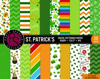 "INSTANT DOWNLOAD - St Patricks Day Digital Paper Pack 20 Papers - commercial use, scrapbook papers, background 12""x12"" Printable .jpg Pages"